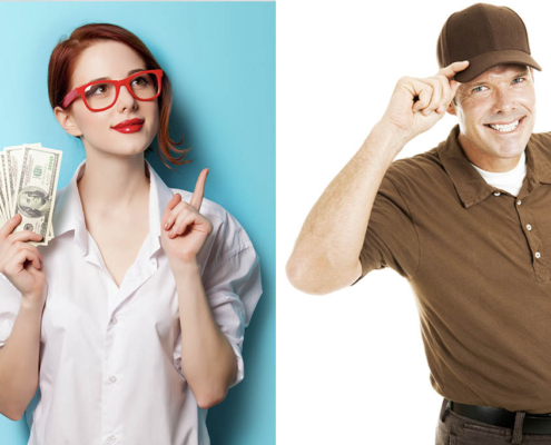 woman holding money and her finger up wondering if she should tip her moving company on the left and a mover on the right