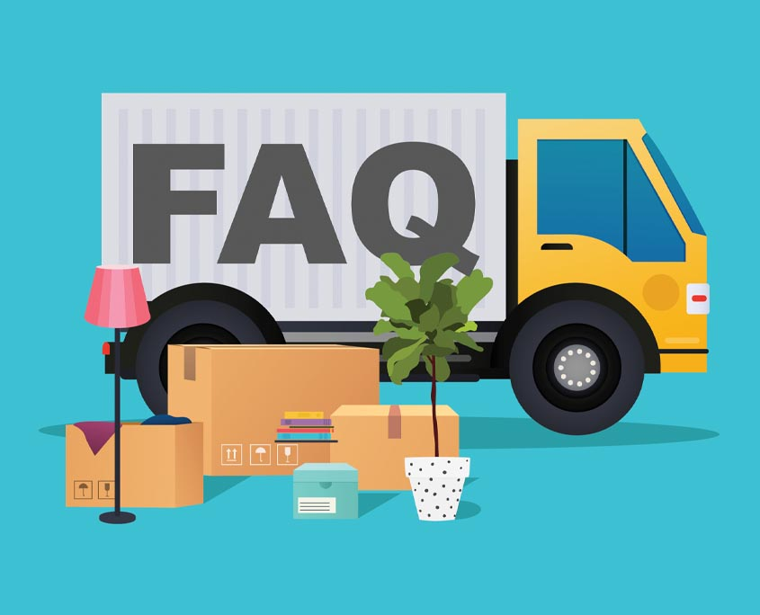 cartoon of moving truck behind household items with text faq