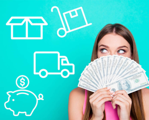 woman wondering the cheapest way to move a short distance while holding money and looking at moving icons