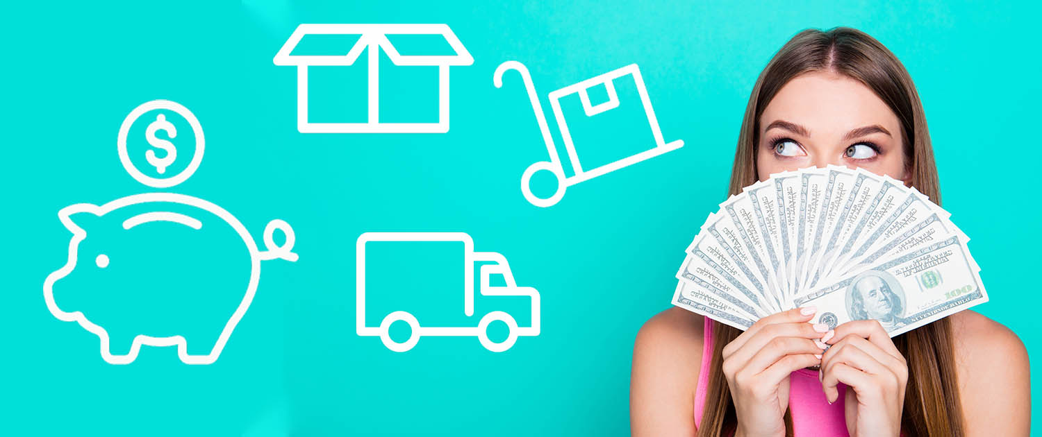 woman holding money next to moving icons wondering the cheapest way to move a short distance