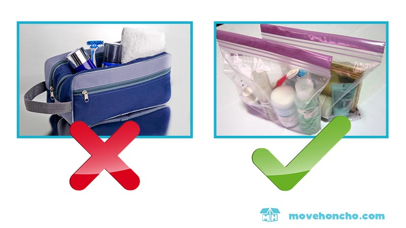 suitcase space saving tip 5 use ziploc bags to store toiletries