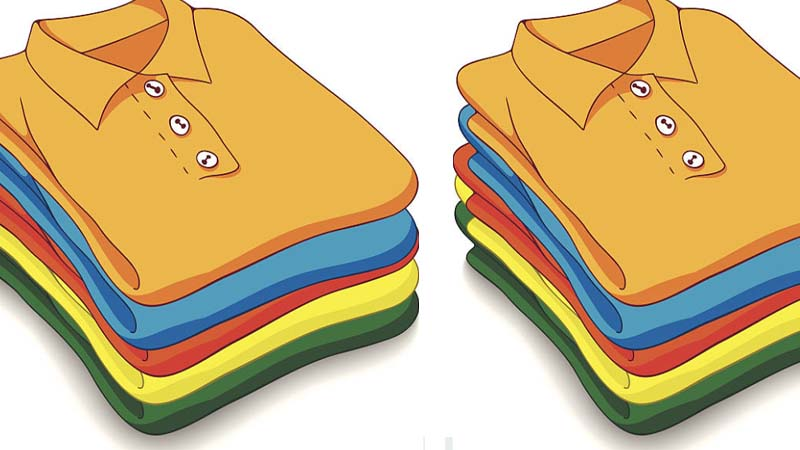 cartoon of folded clothes to save space packing
