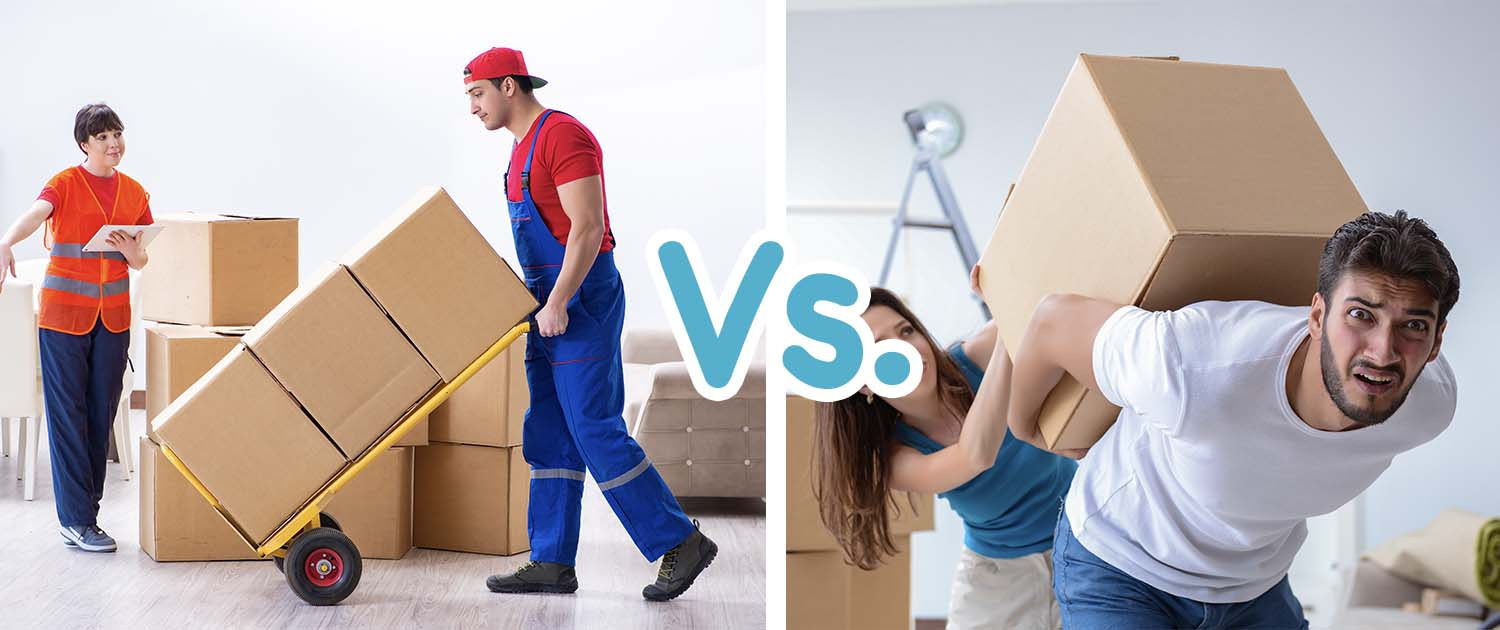 should i hire movers or move myself illustration with movers on the left and diy move on the right